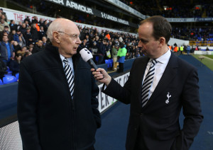 LONDON, ENGLAND - JANUARY 28: Former Tottenham Hotspur player Alan Gilzean is interviewed at the half time during the Emirates FA Cup Fourth Round match between Tottenham Hotspur and Wycombe Wanderers at White Hart Lane on January 28, 2017 in London, England. (Photo by Tottenham Hotspur FC/Tottenham Hotspur FC via Getty Images)